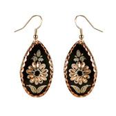 CE43002 Cornflower (Teardrop- Black Background w/ Copper Design) Paykoc Copper Earrings