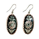 CE43003 Cornflower (Teardrop- Black Background w/ Copper Design) Paykoc Copper Earrings