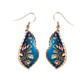 CE43005 Cornflower (Asymmetrical- Blue Background w/ Copper Design) Paykoc Copper Earrings