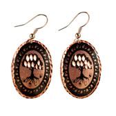 CE45000 Tree (Oval- Copper OR Silver Background w/ Black Design) Paykoc Copper Earrings