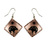 CE50000 Bear (Square- Copper Background w/ Black Design) Paykoc Copper Earrings
