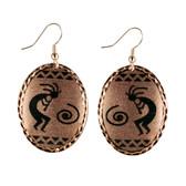 CE50002 Kokopelli (Oval- Copper Background w/ Black Design) Paykoc Copper Earrings
