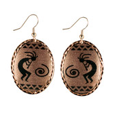 CE50002 Kokopelli (Oval- Copper Background w/ Black Design) Paykoc Copper Earrings