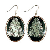 CE70000 Ganesha (Black Background w/ Silver Design) Paykoc Copper Earrings