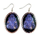 CE70001 Ganesha (Black Background w/ Purple Design) Paykoc Copper Earrings
