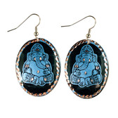 CE70002 Ganesha (Black Background w/ Cornflower Blue Design) Paykoc Copper Earrings