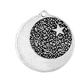 Star-Dogged Moon Amulet on Recycled Cord Necklace AM18