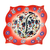 Nimet Lead-Free Deluxe Turkish Porcelain Square Plate 20cm by Paykoc N82015 Red