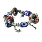Evil Eye Elastic Charm Bracelet - Three Eye & Large Stone Glass Ornament EE0102