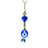 Evil Eye Keychain - Blue Heart Stone
