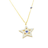 Evil Eye Gold-Plated Necklace - Crystal Star