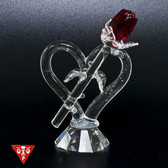 Heart & Long Red Rose Crystal Figurine - Front