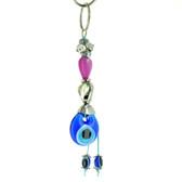 Evil Eye Keychain - Fuchsia Heart Stone Bead