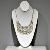 Necklace As Worn -  Cutout Geometric Bib