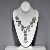 Necklace As Worn -  Etched Flower Turquoise Linked