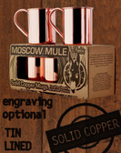 4 Pack - 18oz Tin-Lined Solid Copper Moscow Mule Mugs