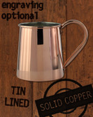 16oz Tin Lined Solid Copper Standard Tankard