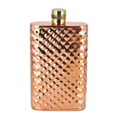 "4.5"" Solid Copper Hammered Flask with Brass Top (7oz)"