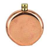 "6"" Round Solid Copper Flask with Brass Top (9oz)"