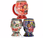 Large Hand Painted Sugar Skull Stein 24oz