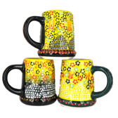 Handmade Nimet Porcelain Beer Steins (Yellow/Assorted Patterns)