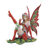Christmas Fairy Sitting on Holly, Red & Green GS91558