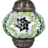 Turkish Mosaic Lamp Shade - B2 - Green - Style 3