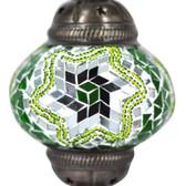 Turkish Mosaic Lamp Shade - B2 - Green - Style 3