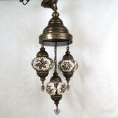 "Turkish Mosaic Chandelier  - 3 Bulbs - 12""x33"" - Amber"