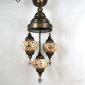 "Turkish Mosaic Chandelier  - 3 Bulbs - 12""x33"" - B2"