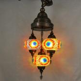 "Turkish Mosaic Chandelier  - 3 Bulbs - 12""x33"" - B3"