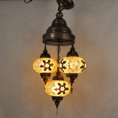 "Turkish Mosaic Chandelier  - 3 Bulbs - 12""x33"" - Amber - B3"