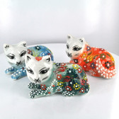 Lying Down Medium Nimet Porcelain Cat (Assorted Colors & Patterns)