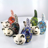 Crouching Small Nimet Porcelain Cat (Assorted Colors & Patterns)