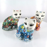 Sitting Medium Nimet Porcelain Cat (Assorted Colors & Patterns)