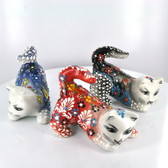Crouching Medium Nimet Porcelain Cat (Assorted Colors & Patterns)