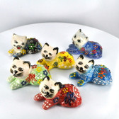 Lying Down Chill Extra Small Nimet Porcelain Cat (Assorted Colors & Patterns)