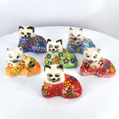 Lying Down Alert Extra Small Nimet Porcelain Cat (Assorted Colors & Patterns)