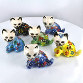 Sitting Left Extra Small Nimet Porcelain Cat (Assorted Colors & Patterns)