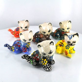 Sitting Right Extra Small Nimet Porcelain Cat (Assorted Colors & Patterns)