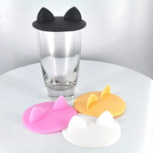 Cat Ear Food Grade Silicone Cup Cover (Assorted Colors)
