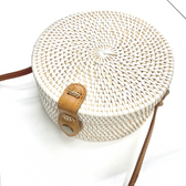 Bali Rattan Bag, Vintage Straw Purse Handwoven Round Straw Crossbody Bag with Bow/Interlocking Clasp
