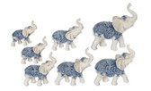 """2"""" - 4"""" Blue/White Thai Elephant Set 88222"""