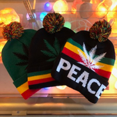 Rasta Colored Weed Winter Hat (Assorted Styles)