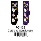 Cats and Sunglasses Foozys Womens Socks FC-133