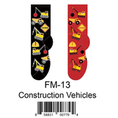 Construction Vehicles Foozys Mens Socks FM-13