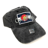 Colorado Flag w/ Funky Colorado Adjustable Flat Brim Baseball Hat (BLACK)