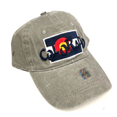 Colorado Flag w/ Funky Colorado Adjustable Flat Brim Baseball Hat (GREY)