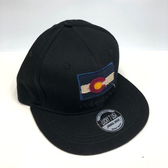 Colorado Flag Adjustable Flat Brim Baseball Hat (BLACK)