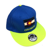 Colorado Flag Adjustable Flat Brim Baseball Hat (BLUE & GREEN)